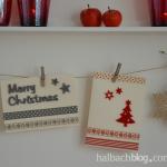 DIY-Idee halbachblog: Weihnachtskarten basteln mit selbstklebenden Filz-Accessoires und Bändern