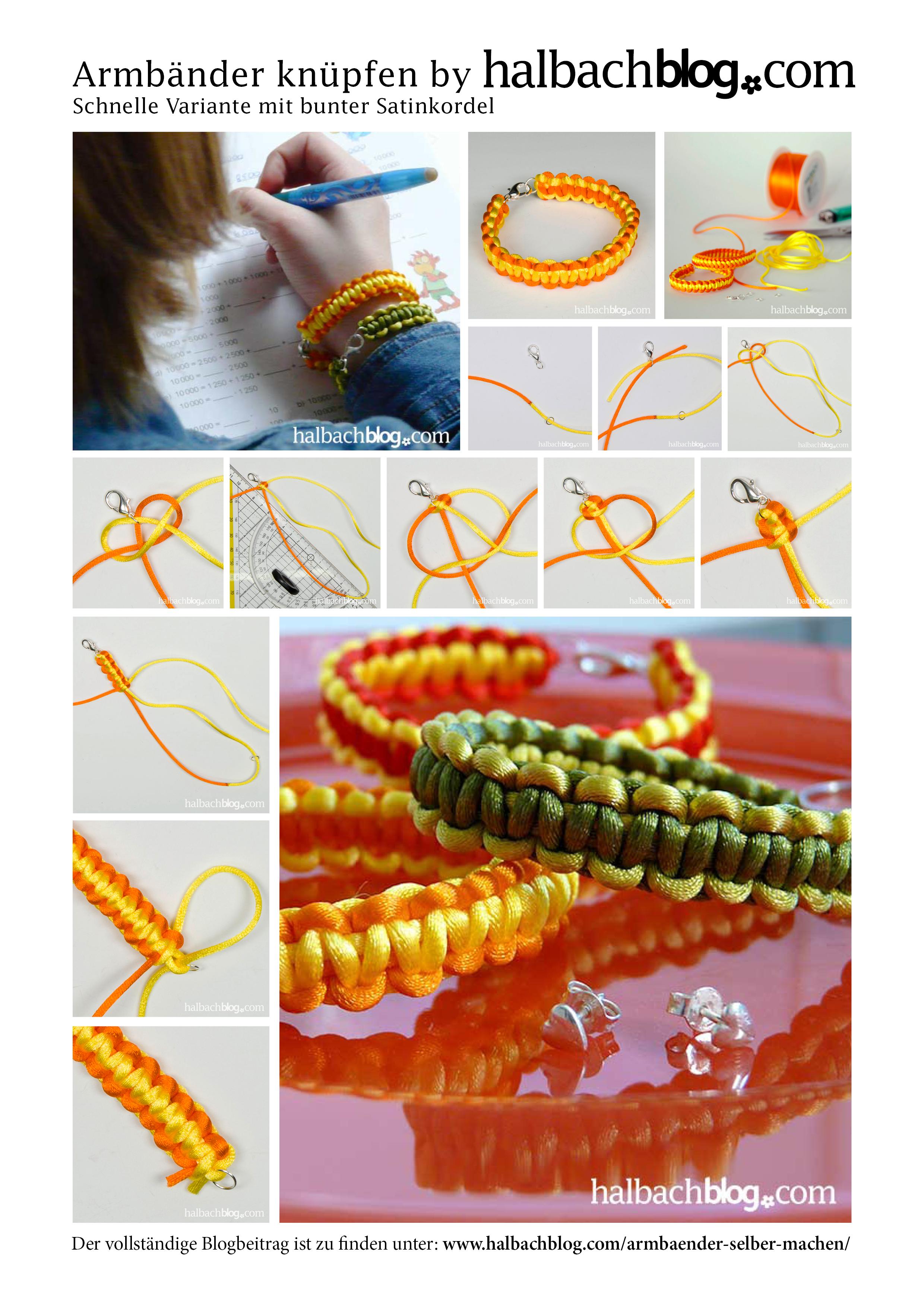 Anleitung: Schnelle Armbänder mit bunter Satinkordel