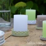 DIY-Idee halbachblog: Kerzenuntersetzer aus Baumwollspitze und Marmeladenglasdeckel
