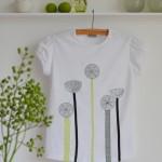 DIY-Idee halbachblog: Kinder-T-Shirt selbst gestalten mit Applikation aus Bändern, Stoffen, Zierstichen und Perlen