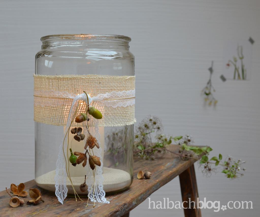 Spitze + Jute + Natur + Kerze = Herbstgemütlichkeit