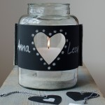 DIY-Idee halbachblog: genähte Windlicht-Banderole aus Tafelstoff mit Herz-Öffnung