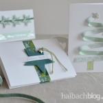 halbachblog: Ideen für selbst gebastelte Weihnachtskarten in Mint, Hellgrün und Petrol