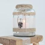 halbachblog: Idee für ein winterliches Windlicht in der Kombination Glitzer und Natur