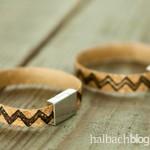 DIY-Idee halbachblog: Korkstoff Armband mit gestempeltem Motiv