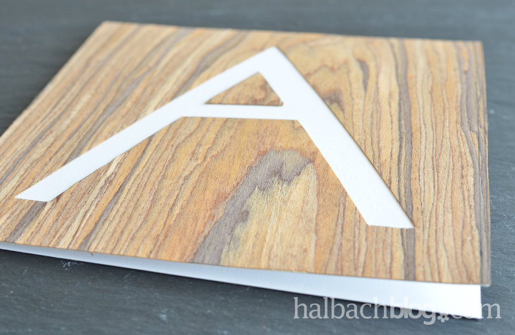 Typo-Design: Karten basteln mit Holzfurnier-Stoff