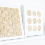 DIY-Idee halbachblog: Bilder gestalten auf weißen Leinwänden mit naturfarbenem, selbstklebenden Holzfurnier-Stoff, Kreise und gewebte Optik