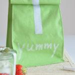 DIY-Tutorial: Lunchbag mit Klettverschluss aus grünem Tafelstoff nähen