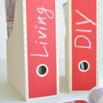 DIY halbachblog: Zeitschriftensammler mit selbstklebendem Tafelstoff in Rot bekleben