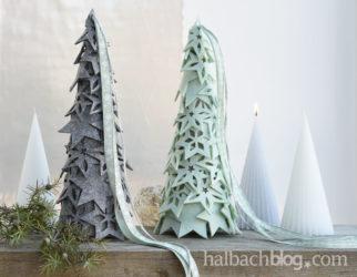 Kleiner Winterwald aus Filz-Bäumen