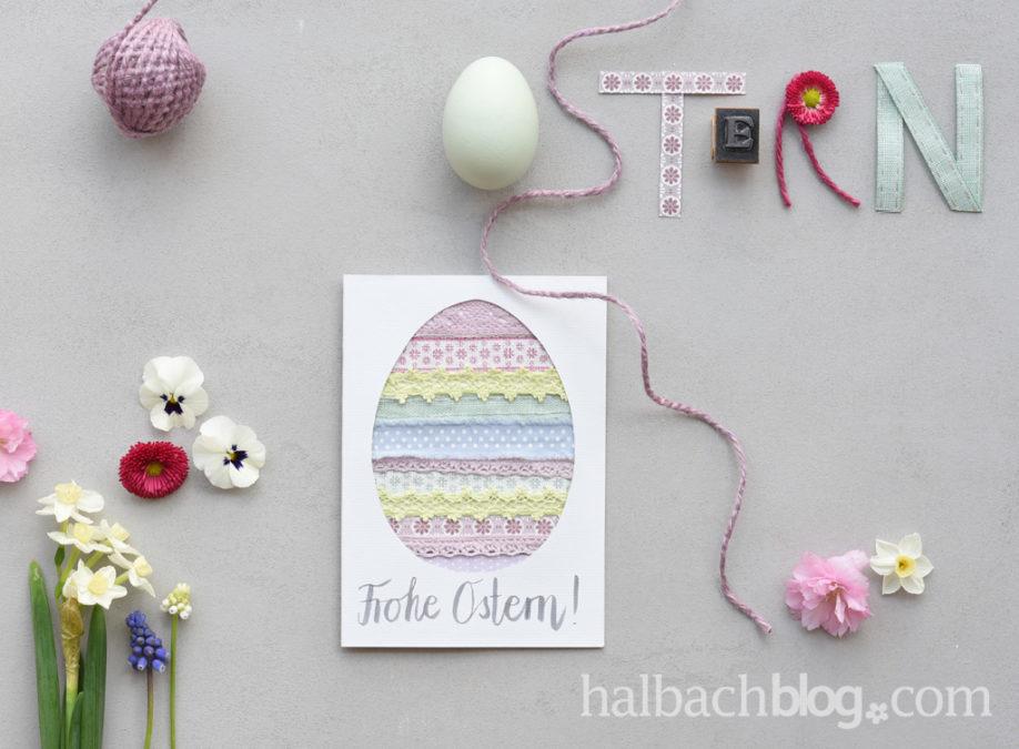 Ostergrüße: Karten basteln mit Bändern und Spitze