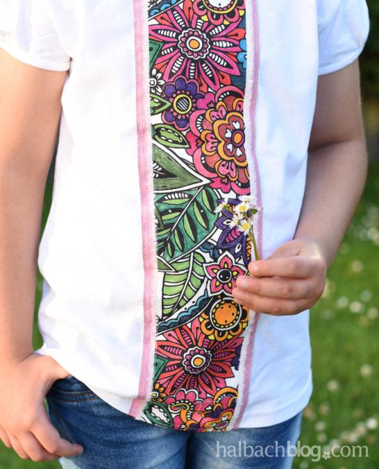 Sommerblumen fürs Shirt mit Ausmalband