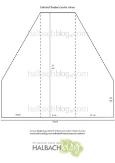 Halbachblog I Schnittmuster für Tafelstoff-Bestecktasche mit Innenfutter und Bändern zum Verschließen