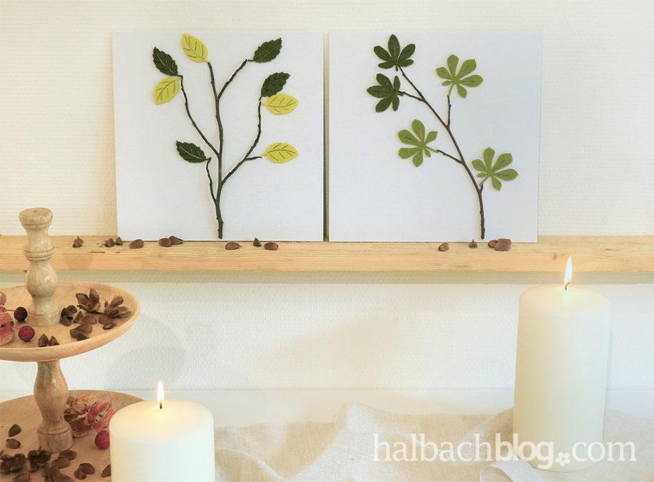 Herbstliche Leinwandbilder mit Filzblättern