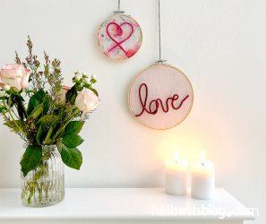 Valentinstag: Stickrahmen mit herziger Applikation