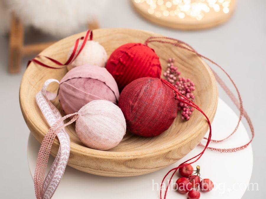 Stoffumhüllt: Weihnachtskugeln basteln