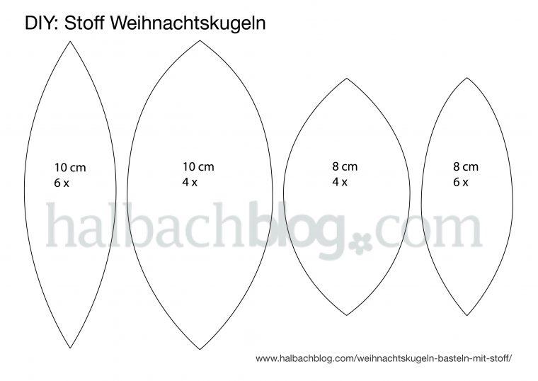 Halbachblog I Vorlage: Ellipsen für Weihnachtskugeln aus Stoff