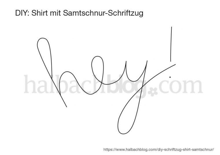 Halbachblog I Vorlage für Shirt mit Schriftzug aus Samtschnur I kostenloser Download I Freebie