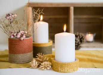 Jutekordel Kerzenhalter zur Herbst-Einstimmung