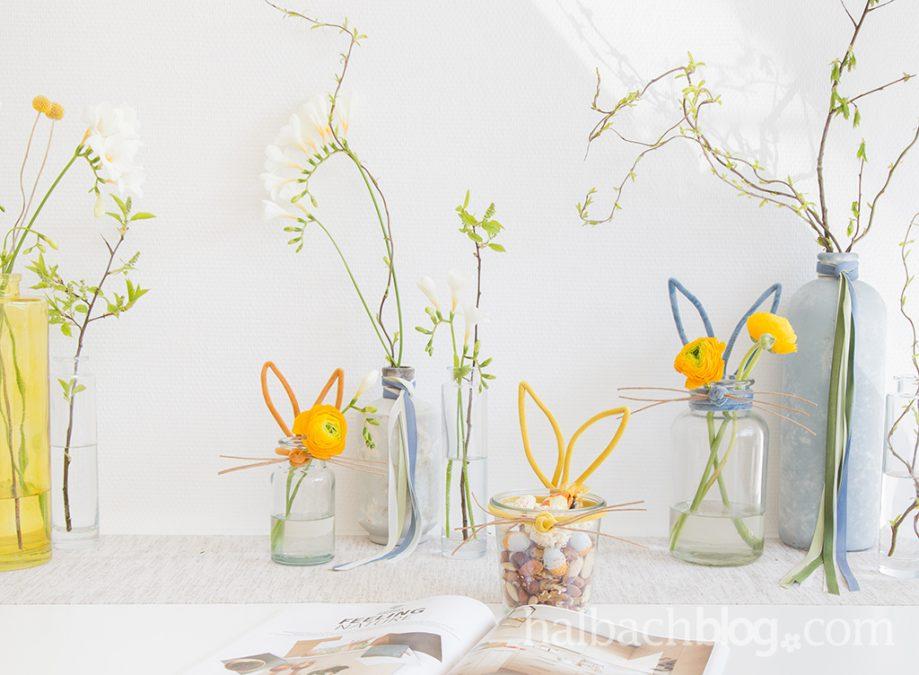 Osterhasen-Vasen aus Samtschnur
